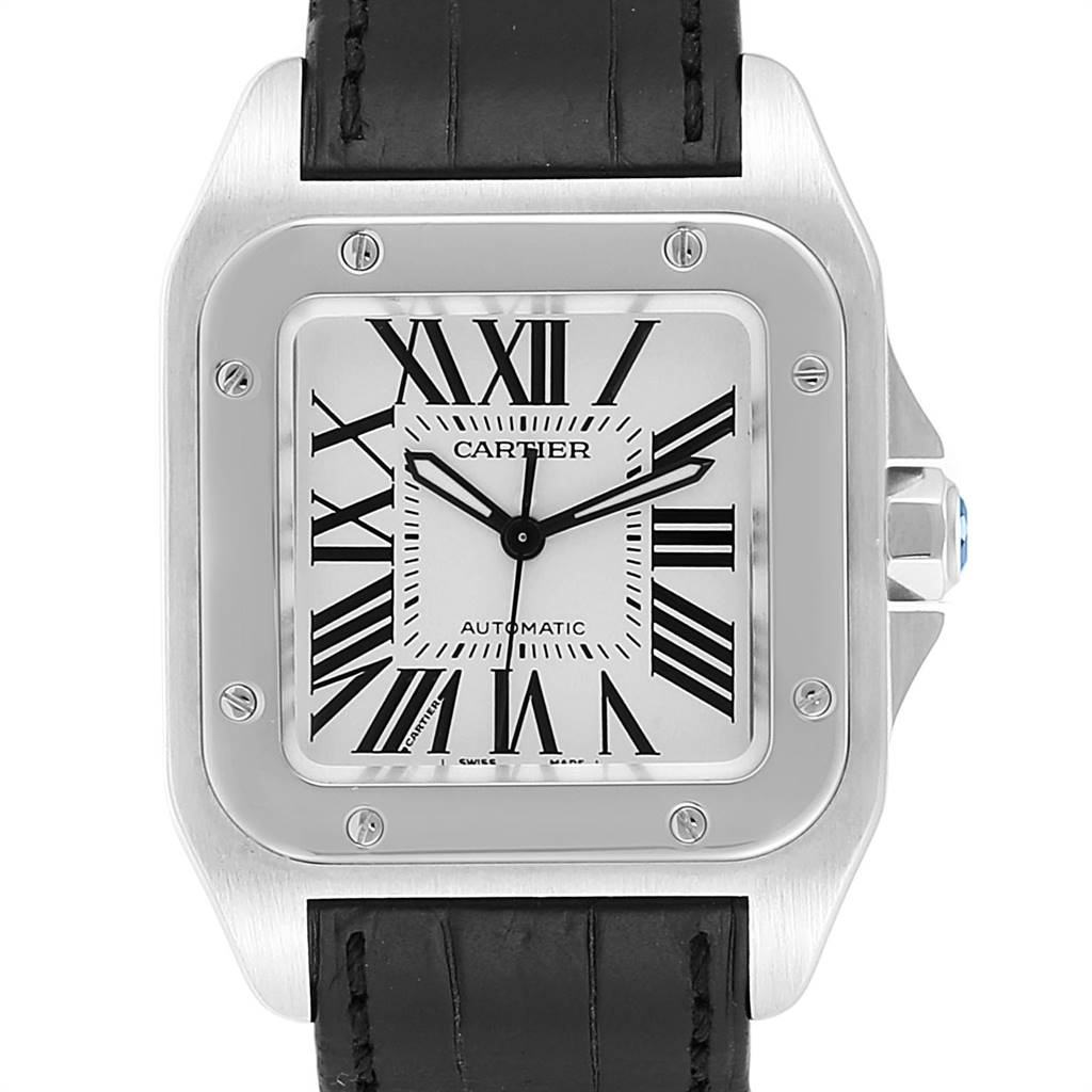 24802 Cartier Santos 100 Steel Midsize Black Strap Mens Watch W20106X8 SwissWatchExpo
