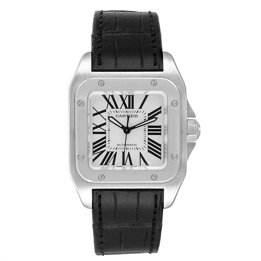 Cartier Santos 100 Steel Midsize Black Strap Mens Watch W20106X8 SwissWatchExpo