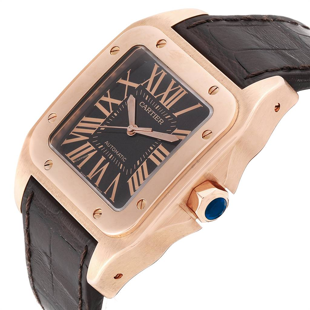 24818 Cartier Santos 100 XL Rose Gold Chocolate Dial Mens Watch W20127Y1 SwissWatchExpo