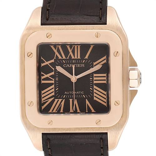 Photo of Cartier Santos 100 XL Rose Gold Chocolate Dial Mens Watch W20127Y1