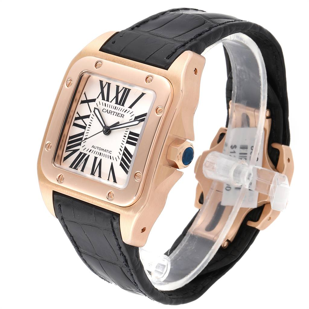 24422 Cartier Santos 100 XL Rose Gold Silver Dial Mens Watch W20095Y1 SwissWatchExpo