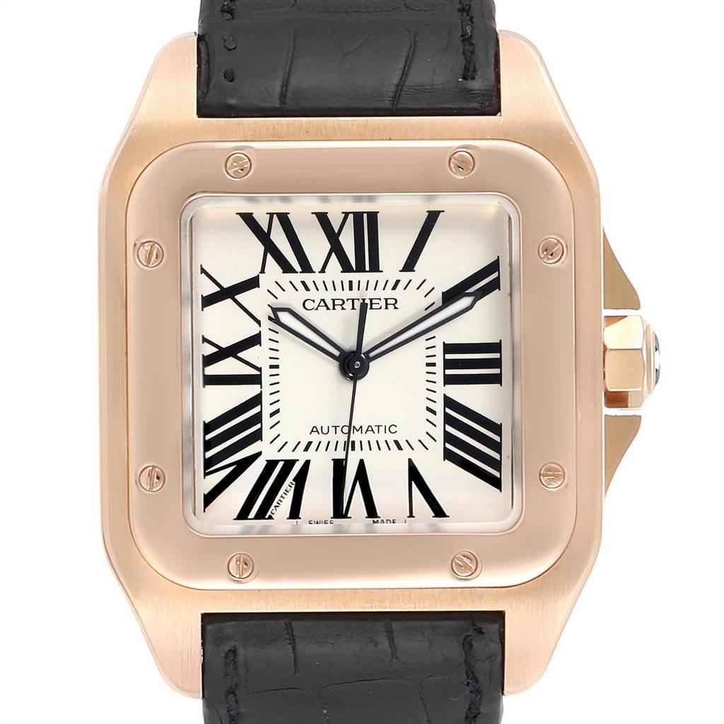 Photo of Cartier Santos 100 XL Rose Gold Silver Dial Mens Watch W20095Y1