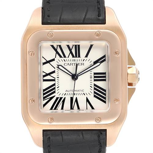 Photo of Cartier Santos 100 XL Rose Gold Silver Dial Mens Watch W20095Y1