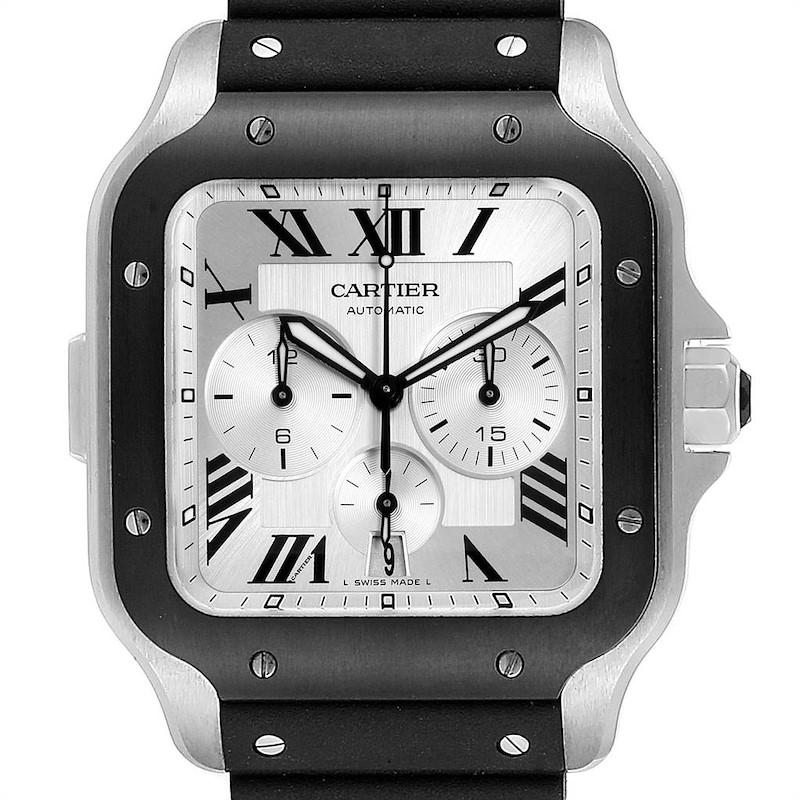 Cartier Santos 100 XL Chronograph Steel Rubber Watch WSSA0017 Box Card SwissWatchExpo