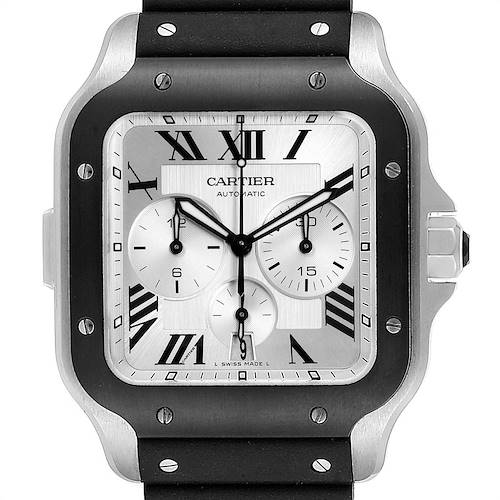 Photo of Cartier Santos 100 XL Chronograph Steel Rubber Watch WSSA0017 Box Card