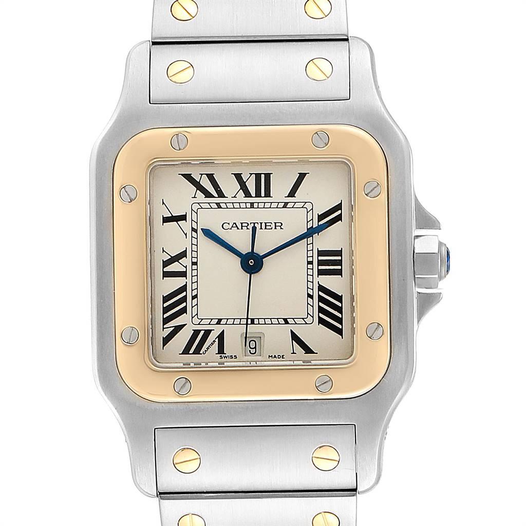 Cartier Santos Galbee 29mm Steel Yellow Gold Mens Watch 187901 Box Papers SwissWatchExpo