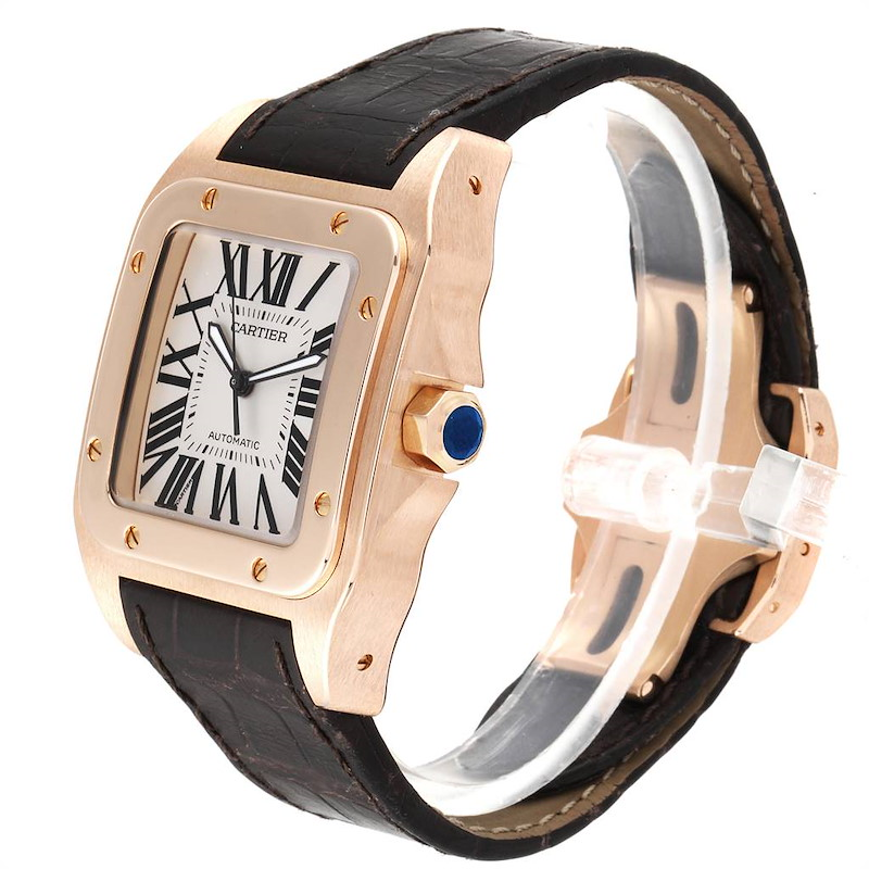 Cartier Santos 100 XL Rose Gold Silver Dial Mens Watch W20095Y1 SwissWatchExpo