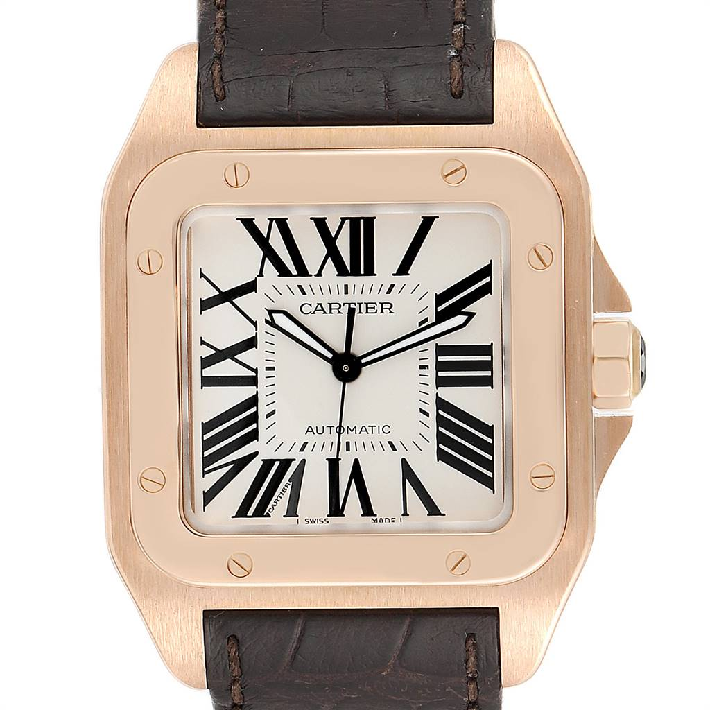 25214 Cartier Santos 100 XL Rose Gold Silver Dial Mens Watch W20095Y1 SwissWatchExpo