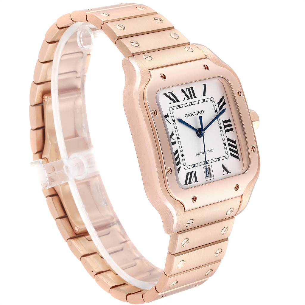 Cartier Santos 100 XL Rose Gold Two Leather Straps  Mens Watch WGSA0007 SwissWatchExpo