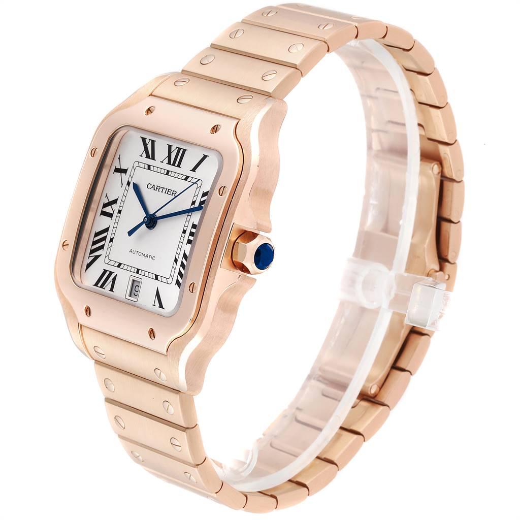 25220 Cartier Santos 100 XL Rose Gold Silver Dial Mens Watch WGSA0007 SwissWatchExpo