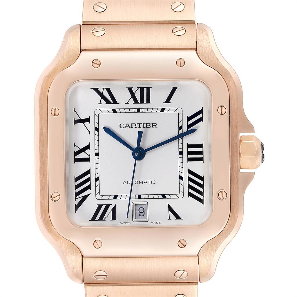 Cartier Santos 100 XL Rose Gold Two Leather Straps  Mens Watch WGSA0007