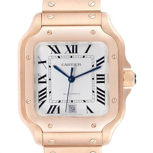Photo of Cartier Santos 100 XL Rose Gold Two Leather Straps  Mens Watch WGSA0007