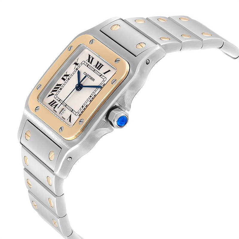 Cartier Santos Galbee Large Steel Yellow Gold Watch W20011C4 Box Papers SwissWatchExpo