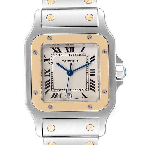 Photo of Cartier Santos Galbee Large Steel Yellow Gold Watch W20011C4 Box Papers
