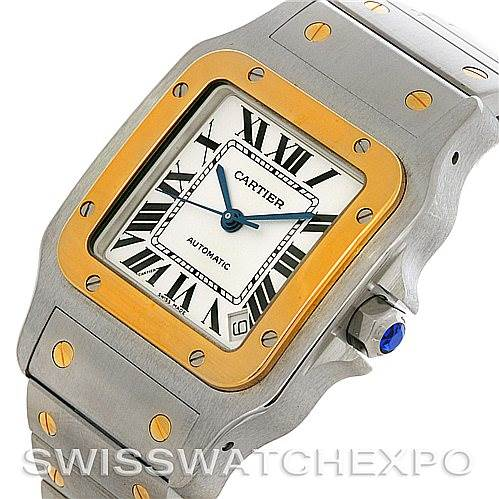 4467 Cartier Santos Galbee 18kt Yellow Gold Steel XL Mens Watch W20099C4 SwissWatchExpo