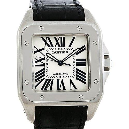 5523 Cartier Santos 100 Steel Automatic XL Mens Watch W20073X8 SwissWatchExpo