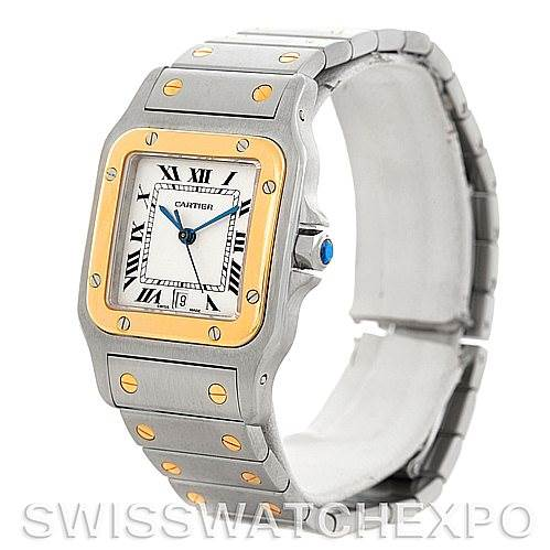5547 Cartier Santos Large Steel 18K Yellow Gold Watch W20011C4 SwissWatchExpo