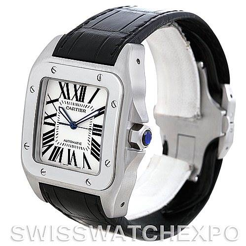 6034 Cartier Santos 100 Steel Automatic XL Mens Watch W20073X8 SwissWatchExpo