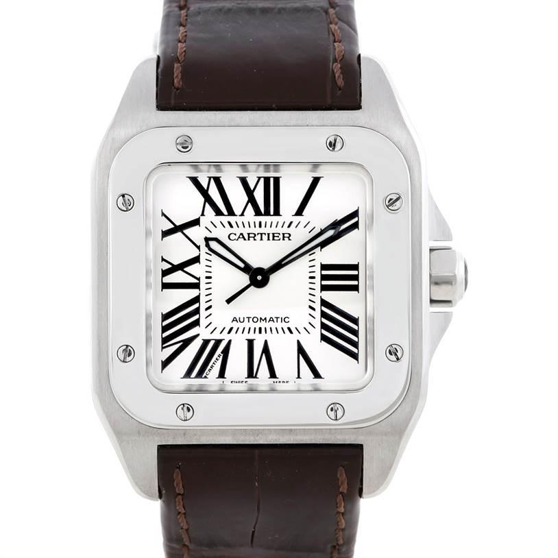 6649 Cartier Santos 100 Stainless Steel Medium Watch W20106X8 SwissWatchExpo