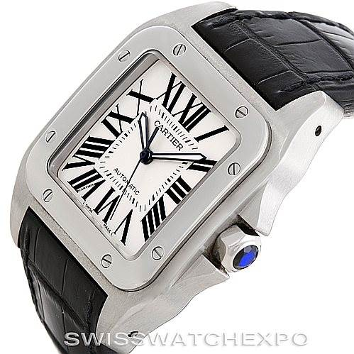 6665 Cartier Santos 100 Steel Automatic Large Mens Watch W20073X8 SwissWatchExpo