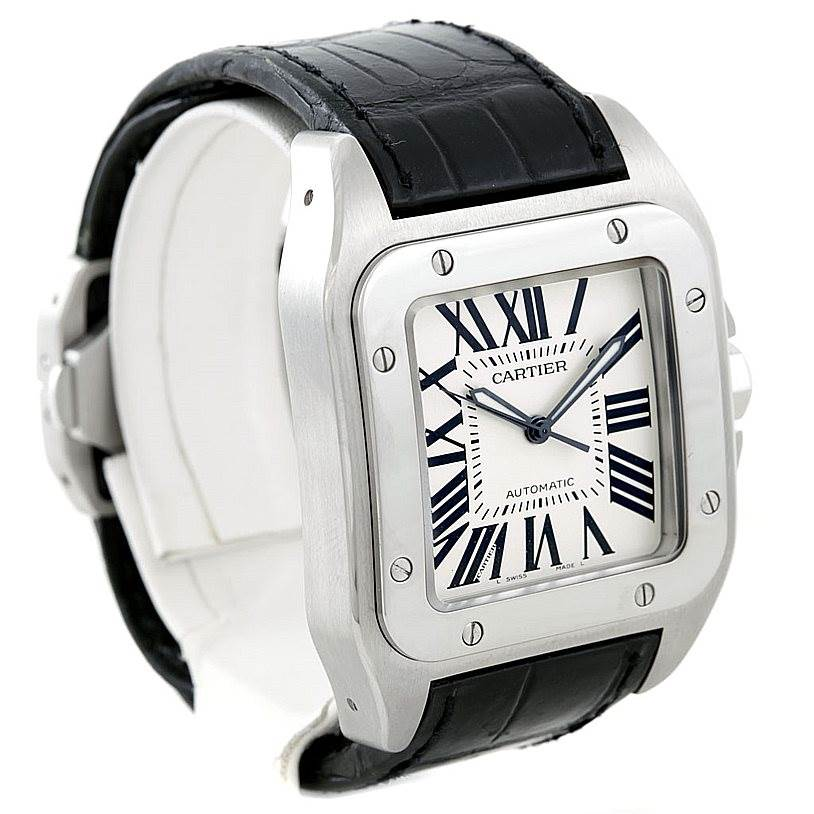 7090 Cartier Santos 100 Steel Automatic Large Mens Watch W20073X8 SwissWatchExpo