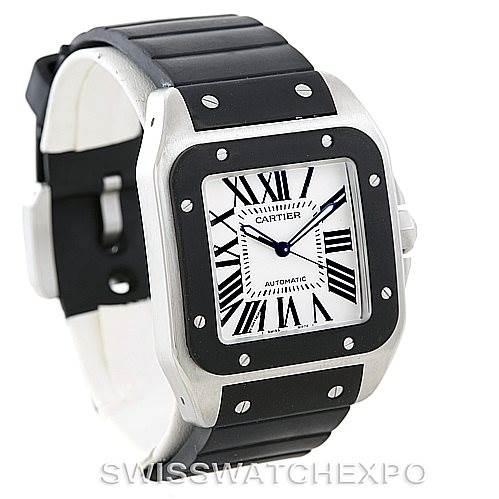 7009 Cartier Santos 100 Steel Rubber Watch W20121U2 SwissWatchExpo
