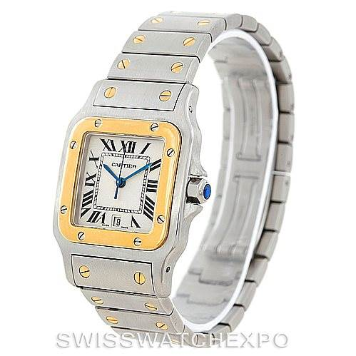 6999 Cartier Santos Large Steel 18K Yellow Gold Watch W20011C4 SwissWatchExpo