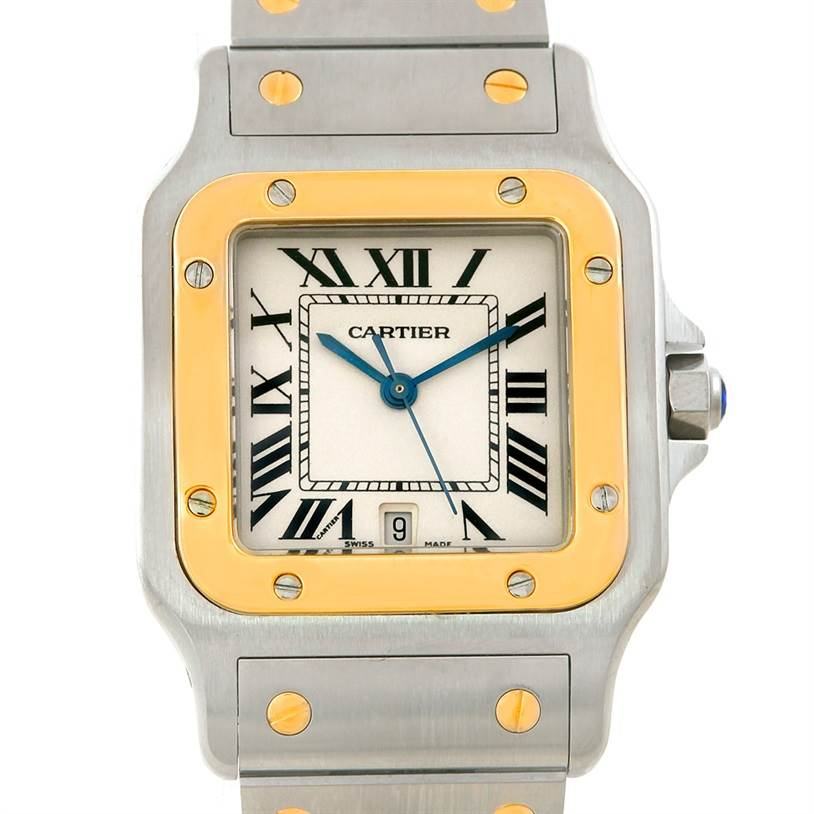 7311 Cartier Santos Large Steel 18K Yellow Gold Watch W20011C4 SwissWatchExpo