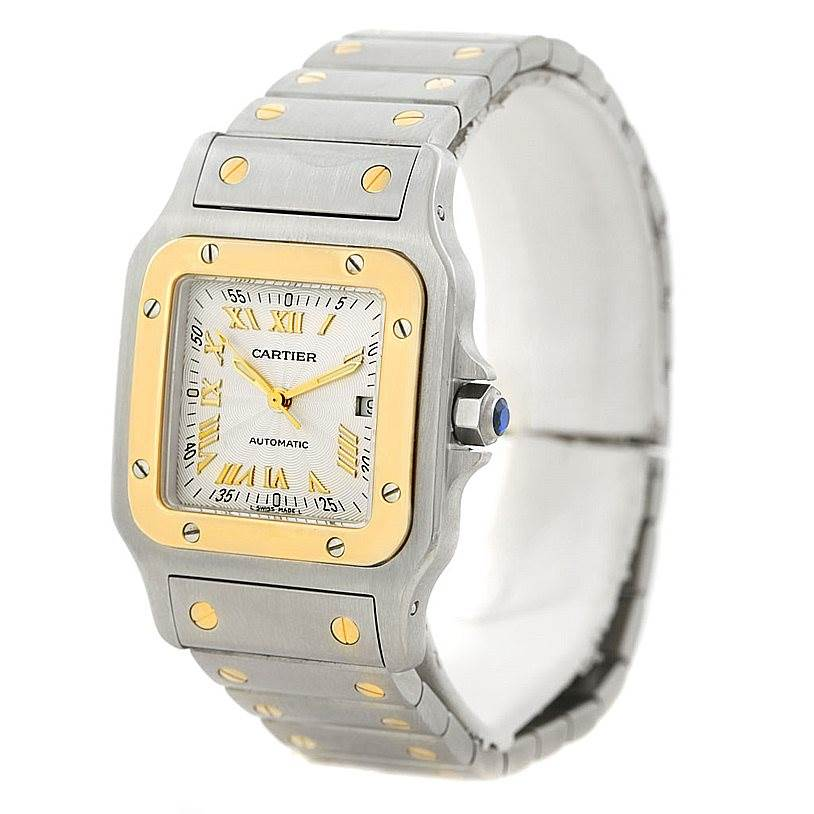 7294 Cartier Santos Galbee Large Steel 18K Yellow Gold Watch W20058C4 SwissWatchExpo