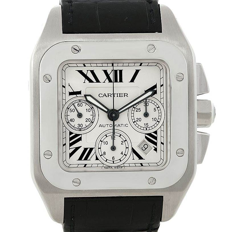 8150 Cartier Santos 100 X-Large Chronograph Watch W20090X8 SwissWatchExpo