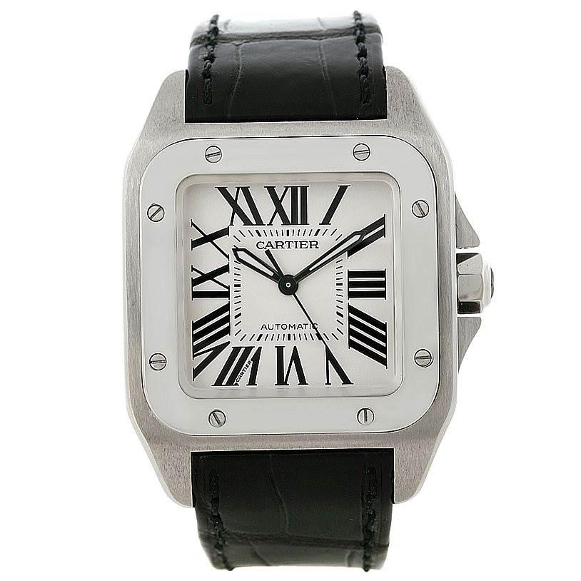 8265 Cartier Santos 100 Stainless Steel Medium Size Watch W20106X8 SwissWatchExpo