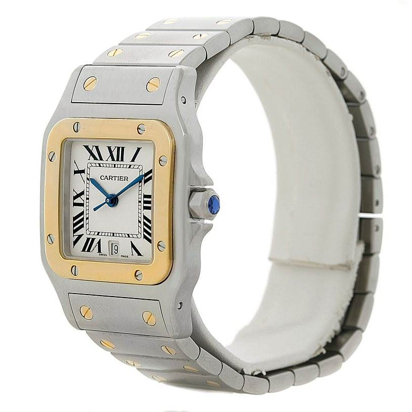 8291 Cartier Santos Large Steel 18K Yellow Gold Watch W20011C4 SwissWatchExpo