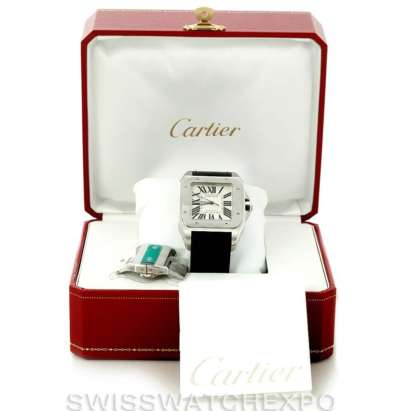 8211 Cartier Santos 100 W20073X8 Mens Stainless Unworn Watch SwissWatchExpo