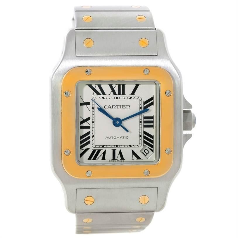 8308 Cartier Santos Galbee XL Steel 18K Yellow Gold Mens Watch W20099C4 SwissWatchExpo