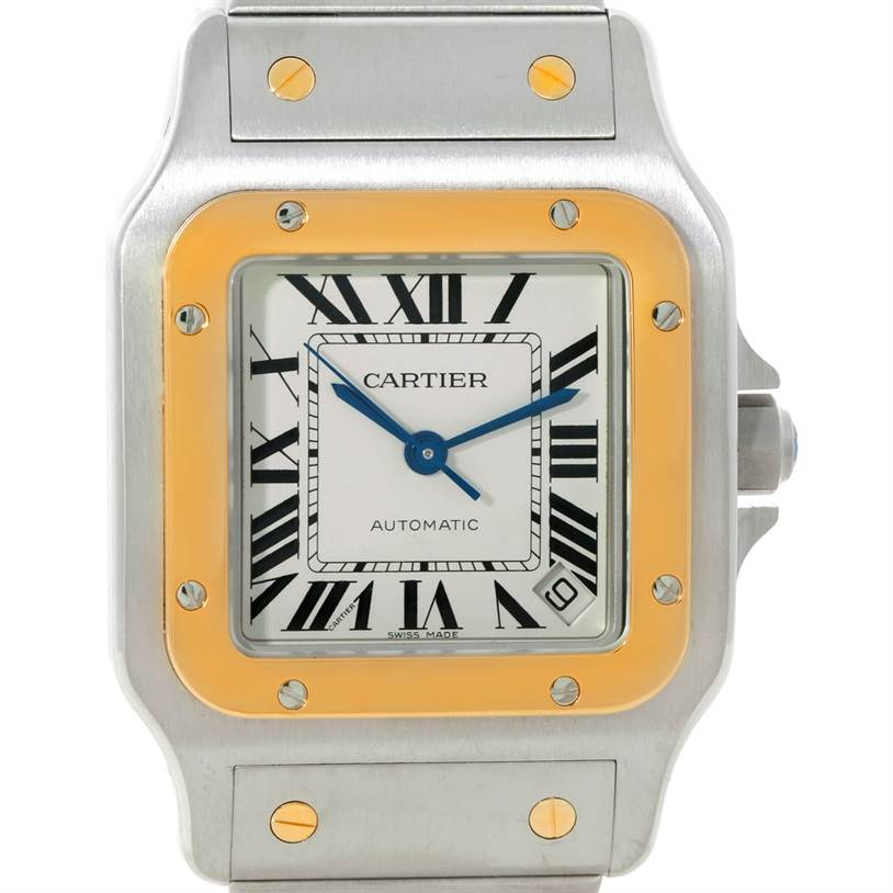 Cartier Santos Galbee XL Steel 18K Yellow Gold Mens Watch W20099C4 SwissWatchExpo