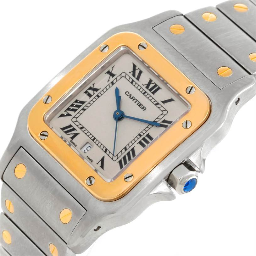 9338 Cartier Santos Galbee Large Steel 18K Yellow Gold Watch SwissWatchExpo