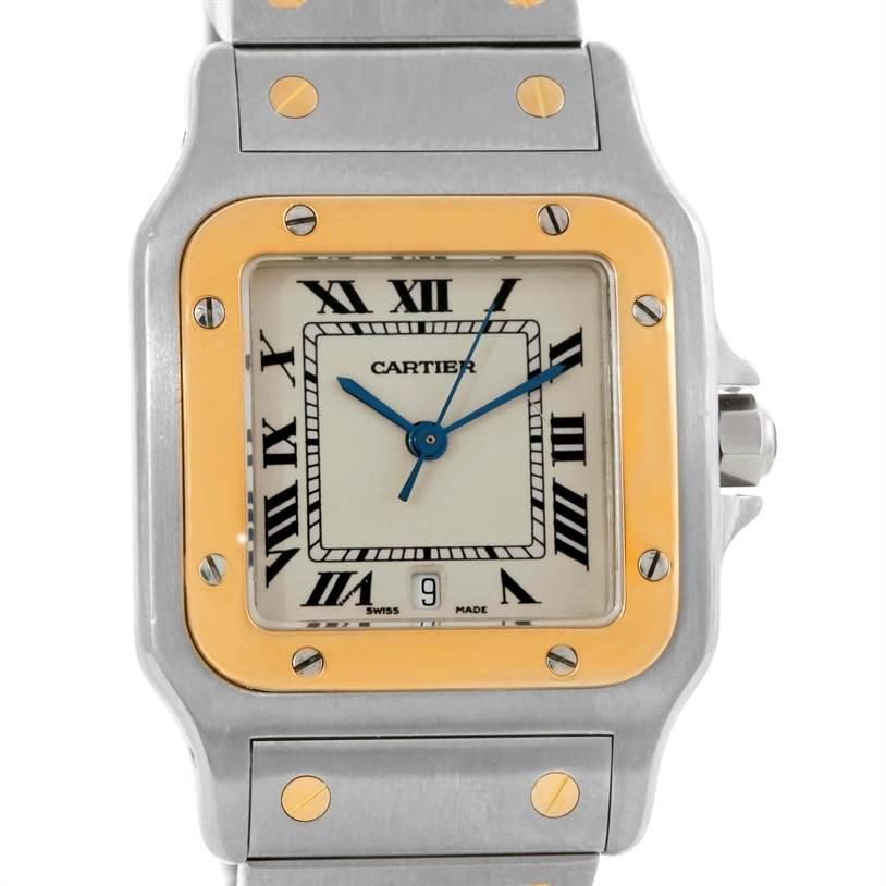 9338 Cartier Santos Galbee Large Steel 18K Yellow Gold Watch SwissWatchExpo