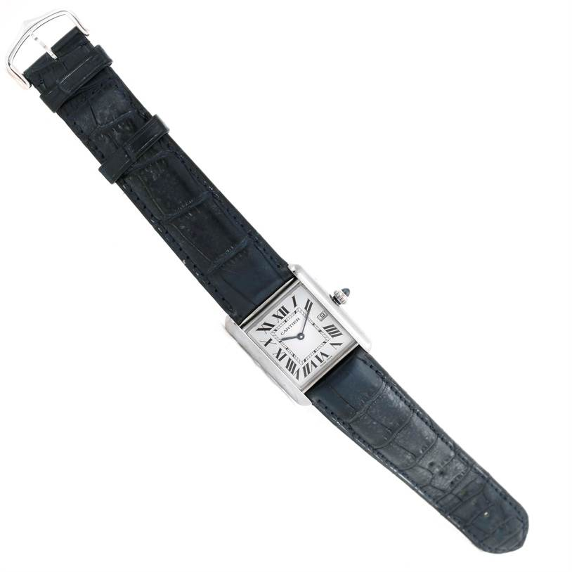 9770 Cartier Tank Louis Mens 18k White Gold Date Blue Strap Watch W1540956 SwissWatchExpo