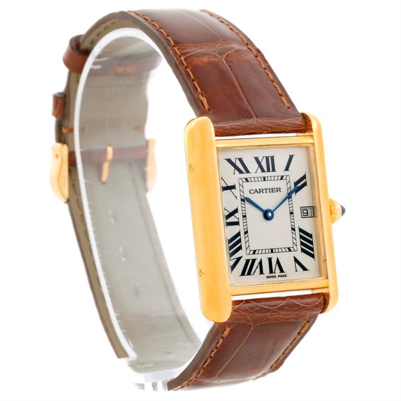 10067 Cartier Tank Louis Large 18k Yellow Gold Brown Strap Watch W1529756 SwissWatchExpo
