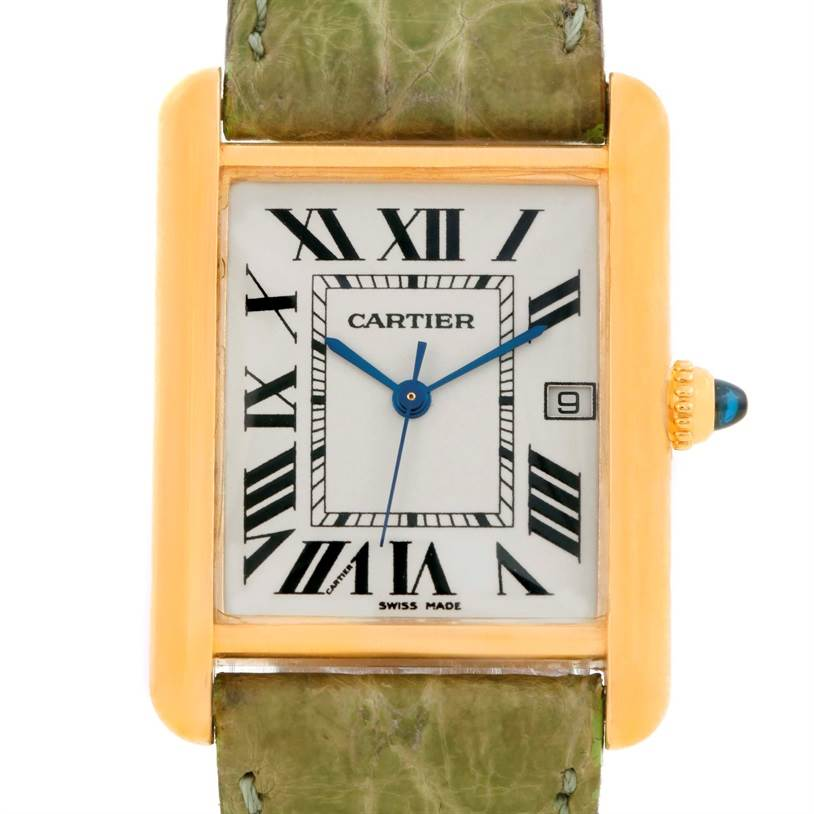 8534 Cartier Tank Louis Large 18k Yellow Gold Green Strap Watch W1529756 SwissWatchExpo