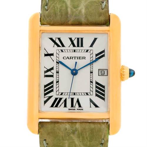 Photo of Cartier Tank Louis Large 18k Yellow Gold Green Strap Watch W1529756