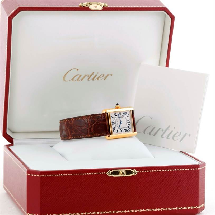 10233 Cartier Tank Louis Large Yellow Gold Deployant Buckle Watch W1529756 SwissWatchExpo