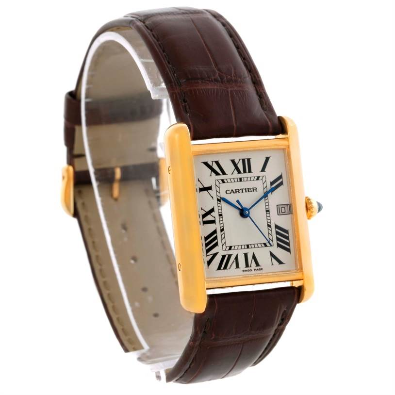 10204 Cartier Tank Louis Large 18k Yellow Gold Brown Strap Watch W1529756 SwissWatchExpo