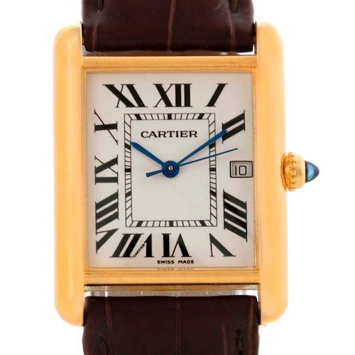 Photo of Cartier Tank Louis Large 18k Yellow Gold Brown Strap Watch W1529756