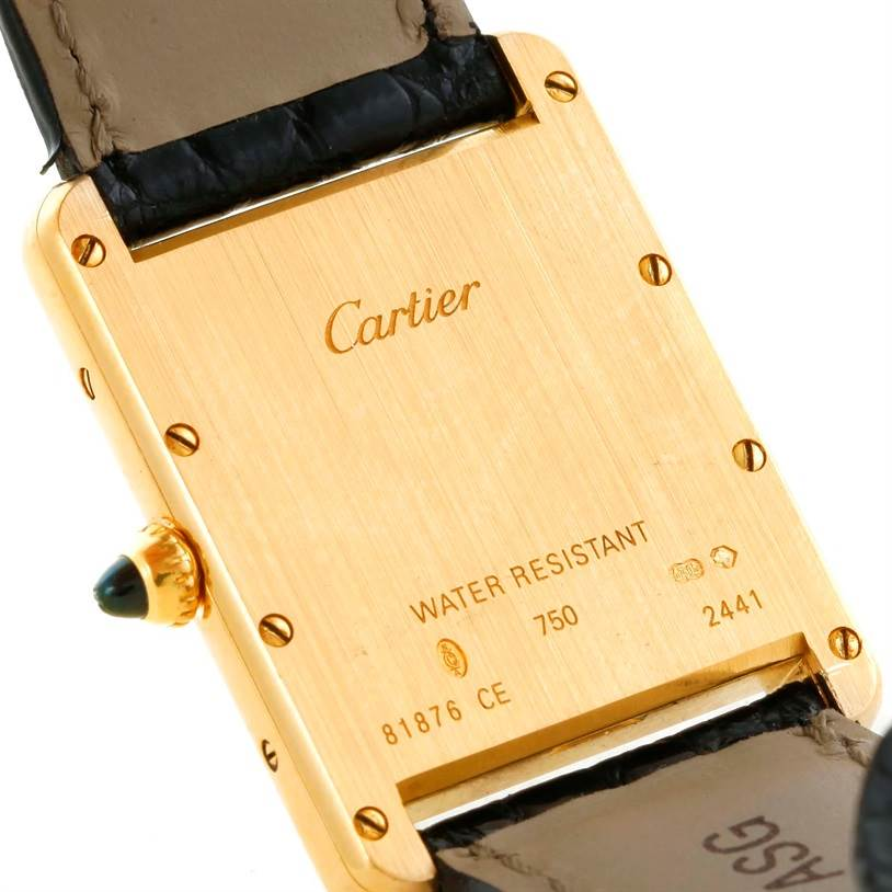 10671 Cartier Tank Louis Large 18k Yellow Gold Black Strap Watch W1529756 SwissWatchExpo