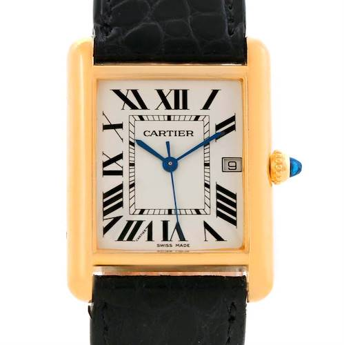 Photo of Cartier Tank Louis Large 18k Yellow Gold Black Strap Watch W1529756