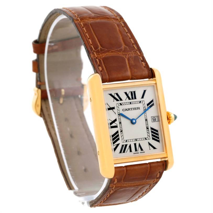 10026 Cartier Tank Louis 18k Yellow Gold Brown Strap Date Watch W1529756 SwissWatchExpo