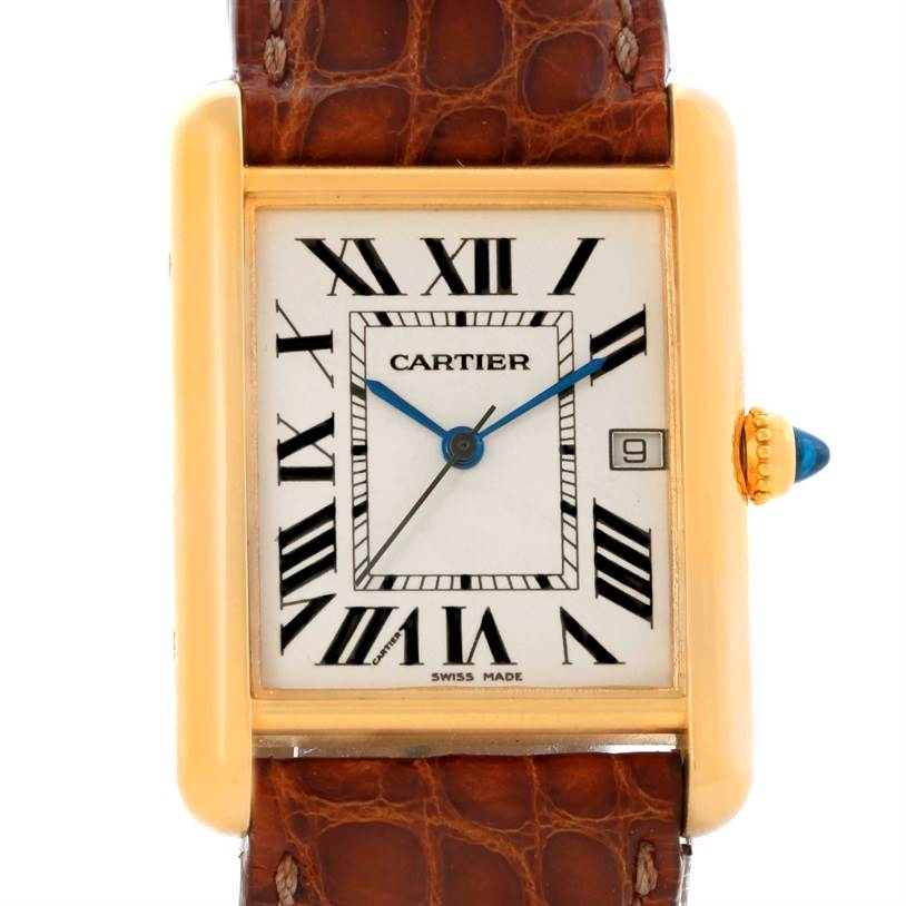 10817 Cartier Tank Louis 18k Yellow Gold Brown Strap Date Watch W1529756 SwissWatchExpo