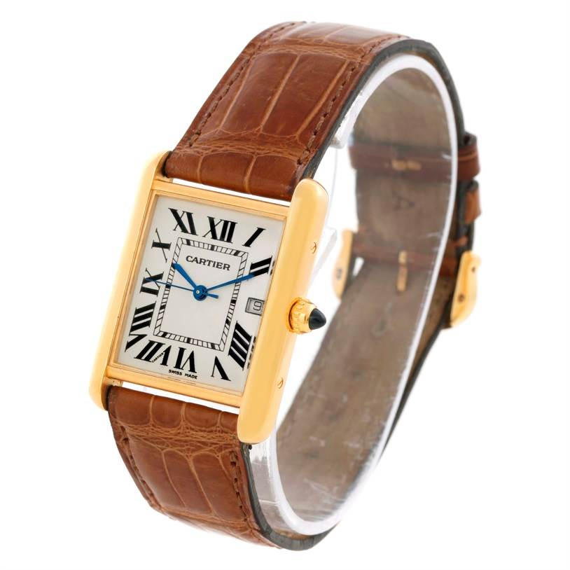 10132 Cartier Tank Louis 18k Yellow Gold Brown Strap Date Watch W1529756 SwissWatchExpo