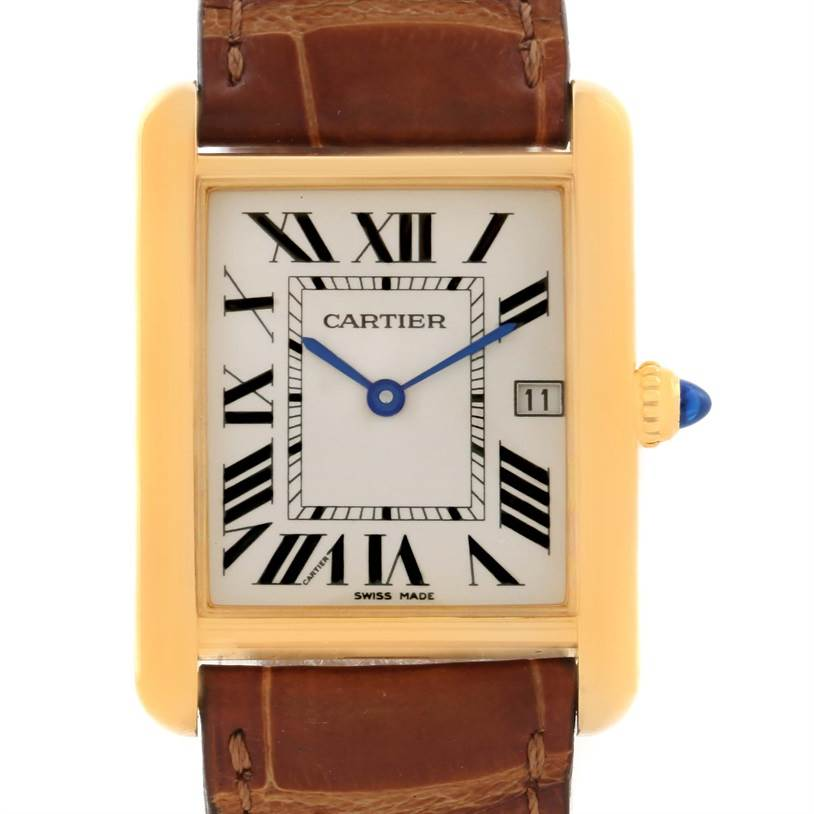 10454 Cartier Tank Louis 18k Yellow Gold Brown Strap Date Watch W1529756 SwissWatchExpo